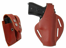 New Burgundy Leather Pancake Holster + Dbl Mag Pouch Kimber Llama Full Size 9mm