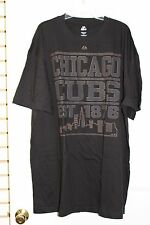 Chicago Cubs Black Authentic Majestic Collection T-Shirts Big Brown Lettering