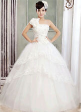 Hot Fashion Lace Rose One-shoulder Beaded Shinny Wedding Bridal Dress Ball Gown