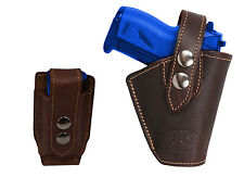 Barsony Gun OWB Brown Leather Belt Holster w/Mag Pouch Bersa Colt Mini 22 25 380