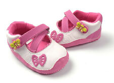 New Baby Girls Soft Sole Bow Mary Jane Shoes 0-18 Months White Pink Butterfly