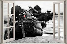 Huge 3D Window Army Fighters Sniper View Wall Stickers Decal Wallpaper Mural