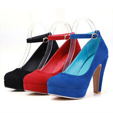 K US Fashion Womens Shoes High Heels Suede Ankle Strap Sexy Platform Pumps New