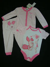 "DISNEY  WINNIE THE POOH ""PIGLET"" 3 piece set NWTS ""CHECK OUT MY BACKSIDE!!!"
