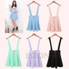 Girl Candy Color Waist Suspender Skirt Pastel Skater Flared Pleated Mini Dress