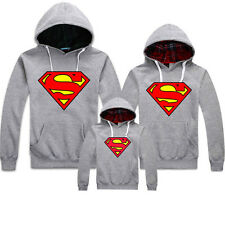 Unisex Superman Cotton Hoodie Pullover Hooded Sweater Couples Family Coat New