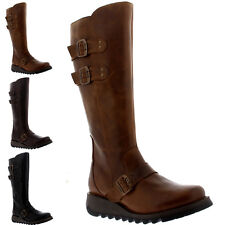 Womens Fly London Solv Leather Knee High Riding Winter Snow Wedge Boots UK 3-9