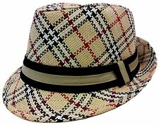 FEDORA TRILBY GANGSTER FEDORA BUCKET HAT MEN WOMEN PAPER STRAW  PLAID HAT CAP