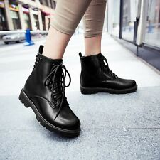 News Trendy Lace Up Womens Ladies Studded Flat Punk Gothic Biker Ankle Boots