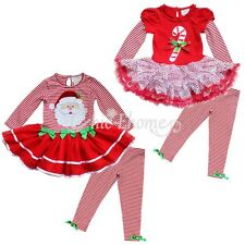 CHRISTMAS SANTA Outfit Set Baby Girls Kid Tutu Skirt Dress+Stripe Leggings Pants