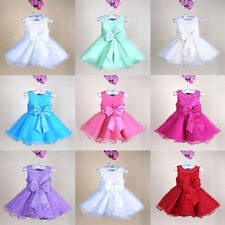 1 New Kid Girl Wedding Pageant  Party  Lovely Bow Princess Ruffle Dress 0-8Y
