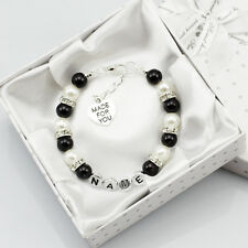 black name Personalised Girl baby Birthday Gift Charm Bracelet sister With Box