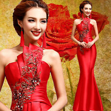Strapless Chinese Cheongsam Evening Prom Party Wedding Mermaid Dress Embroidery