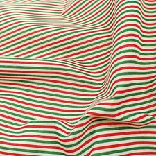Christmas Candy Stripe White Red And Green Polycotton Fabric