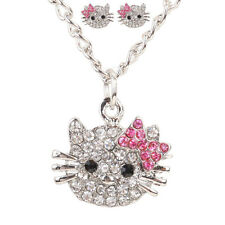 Full Crystal Silver Plated Lovely Cat Stud Earrings Necklace Ring Set Women Free