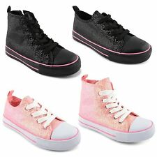 New Girls Kids Comfy Lace Up Plimsolls Glitter Low High Top Trainers Size 10-2