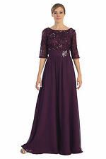 Simply Elegant Mother of the Bride Plum Dress 3/4 Sleeve A Line Formal Clearance