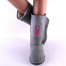 New Womens Gray with Pink Rhinestud Cancer Ribbon Winter Boots