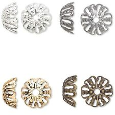 10 Big 12mm Filigree Spacer Bead End Caps Plated Brass Metal for 12mm-16mm Beads
