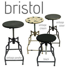 NEW! RUSTIC RETRO BRISTOL BARSTOOL - STEEL ROTATING ADJUSTABLE HEIGHT BAR STOOL