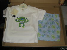 BABY BOYS  PJs -  LITTLE MONSTER PATERN T SHIRT WITH PATERN ON SHORTS - ONLY £4