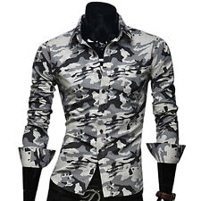 New Fashion Style Camouflage Man Shirt Sexy Pattern Slim Fit Long Sleeve Hot