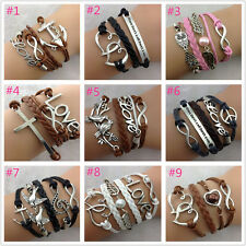 FREE Adjustable Handmade leather Suede Wrap Tibetan silver Bracelet many styles