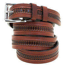 """Made In America 1 1/4"""" Rich Brown Bridle Leather Belt Embossed Double Loop"""