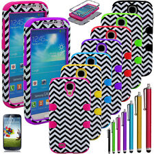 Hybrid Chevron Rugged Rubber Tuff Case Cover For Samsung Galaxy S4 S IV i9500