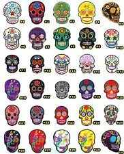 NEW SUGAR SKULL TATTOO FLOWER DAY OF THE DEAD ROCK PUNK BIKER SEW IRON ON PATCH