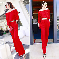 Fashion womens  Siamese pants Jumpsuits Rompers new RED girl long pants UN0012