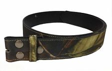 "1-1/2"" Camouflage Hunting Mossy Oak PU Leather Strap Snap On Belt NC87"