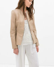 ZARA WOMEN'S NUDE PINK 100% LEATHER JACKET ALL SIZES IN STOCK ** SALE PRICE **