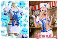 Super Sonico SONICOMI Navy Uniform love cosplay costume Custom made dress outfit