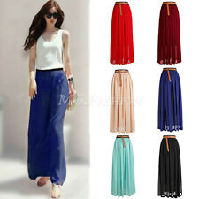 Women Chiffon Double Layer Pleated Retro Long Maxi Dress Elastic Waist Skirt