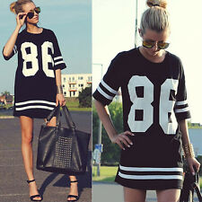 Hot Summer Women Casual 86 Number Print HipHop Baseball Tops Sports Shirt Blouse