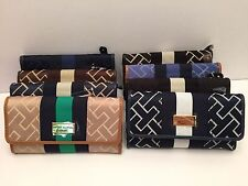 Tommy Hilfiger Women's Wallet w/ Check Book Cover Black ~ Gold Beige Clutch New