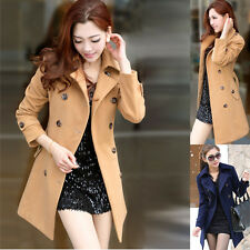 Womens Long Sleeve Lapel Neck Double Breasted Slim Trench Belted Coats Outwear