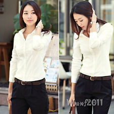 New Women Long Sleeve Button Down Business Solid White Top T-Shirt Blouse S M L