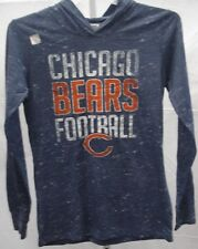 Chicago Bears Football Ladies Bears with Hood Long Sleeve T-Shirt Navy New
