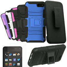 Amazon Kindle Fire Phone Rugged Tough Armor Hybrid Dual Layer Case Cover Holster