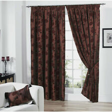 Just Contempo Sale – Fully Lined Velvet Floral Chocolate Silk Curtains Tiebacks