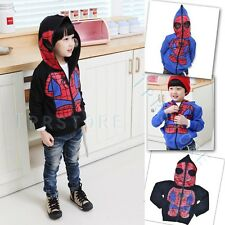 Kids Spiderman New Coats Boys Hoodies Girls Full Zipper Mask Jackets Age 1-6 Y