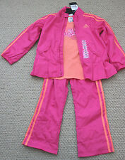 NWT Adidas Track Athletic Wind Set Pants Jacket Tee Pink Orange 3 3T Free Ship