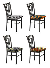 FC112 NEW BLACK METAL KITCHEN DINING CHAIRS W/ SPORTS THEMED PADDED SEAT CUSHION