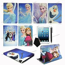 For iPad 2 3rd 4th PU cartoon leather case covers Elsa Anna Olad for kids girls