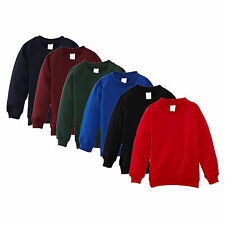 Children Kid Boy Girl School Uniform Plain Lined Sweatshirt Pull Over Jumper