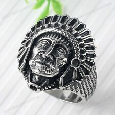 1Pc Apache Indian Chief Head 316L Stainless Steel Mens Finger Rings us9/10/11/12