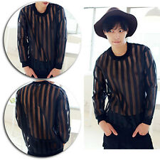 Sexy Fashion Mens See Through Mesh Sheer Long Sleeve Casual T Shirt Tee Tops New