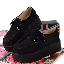 Fashion Womens Black Red Platform Lace up Ladies Flats Creepers Punk Goth Shoes